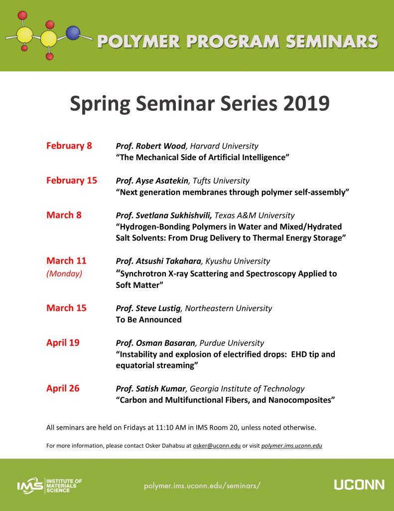 IMS Polymer Program Spring Seminars
